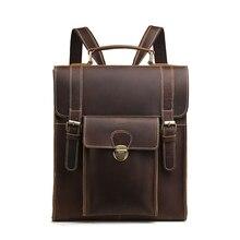 BAOERSEN, первый слой, Воловья кожа, мужской рюкзак, на плечо, для ноутбука, книга, сумки, Винтаж, для путешествий, Crazy Horse, Воловья кожа, мужской рюкзак, Bac