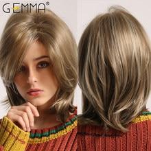 Gemma luz marrom loira destaque peruca com franja parte lateral reta curta perucas sintéticas feminino resistente ao calor natural cabelo diário