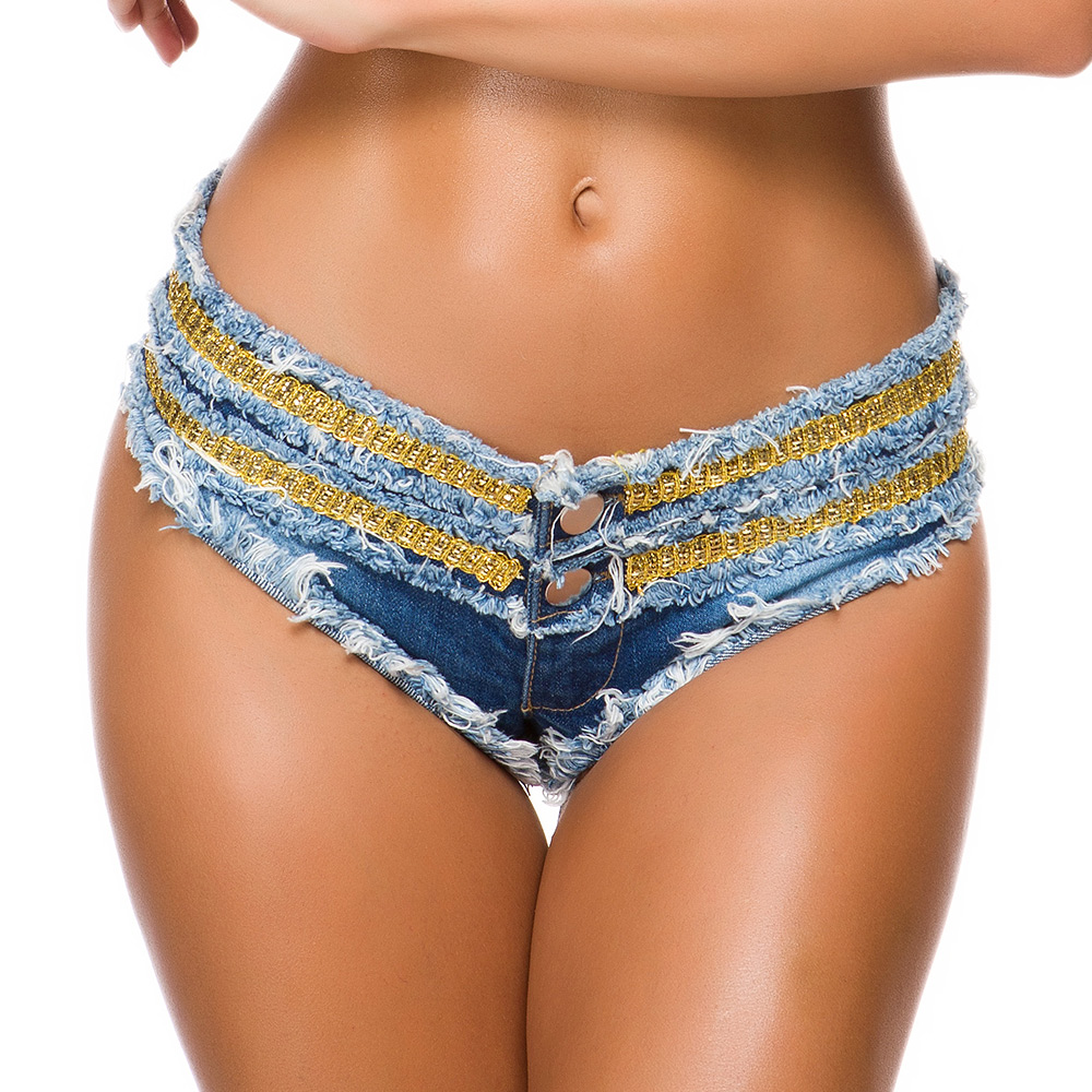 Sexy Women Denim Shorts Beach Style Tassel Contrast Color Patchwork Low Waist Button Fly Super Short Jeans Drop Shipping