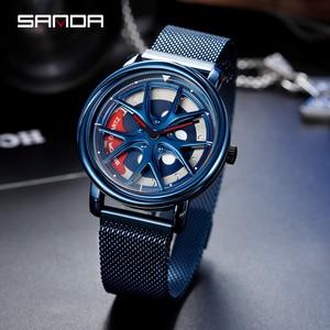 Image 4 - SANDA 2020 Hot Sell Men Watch Racing & Furious Rotating Dial Wheel Watches Magnet Clasp Quartz Wristwatch Gift Relogio Masculino