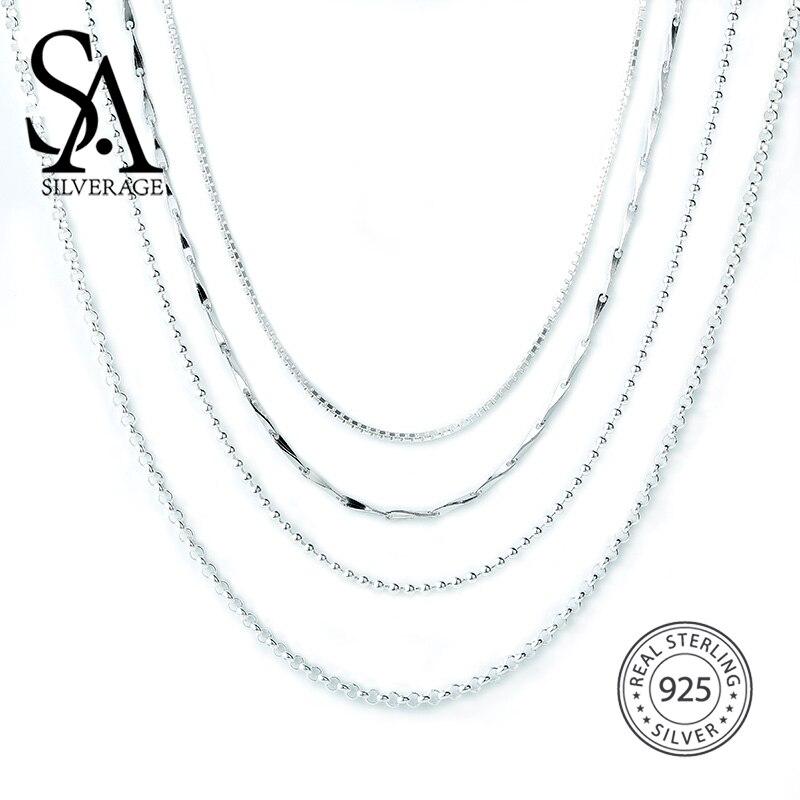 SA SILVERAGE S925 Серебряное ожерелье 16/18 дюйма S925 аксессуары из серебра высшей пробы
