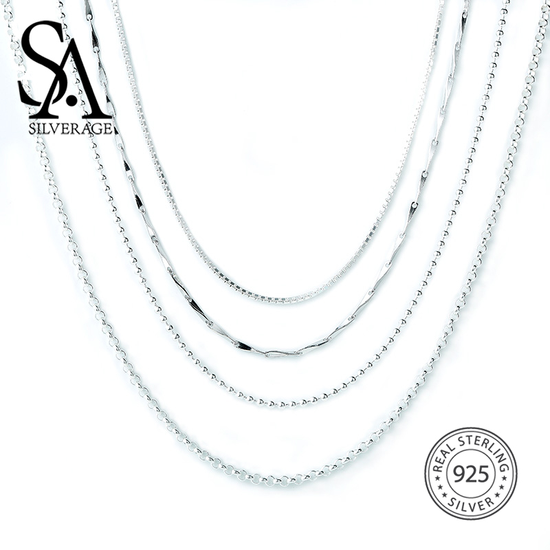 SA SILVERAGE S925 Silver Necklace 16/18 Inch S925 Sterling Silver Accessory Chain Matching