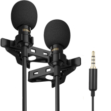 Dual Mini Portable Lavalier Microphone Condenser Clip-on Lapel Mic Wired Mikrofo/Microfon for Phone for Laptop PC
