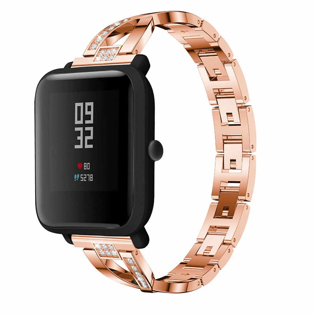אופנה להקת החלפה עבור Huami Amazfit ביפ שעון 200mm נירוסטה רצועת השעון צמיד יוקרה תכשיטי צמיד נשים