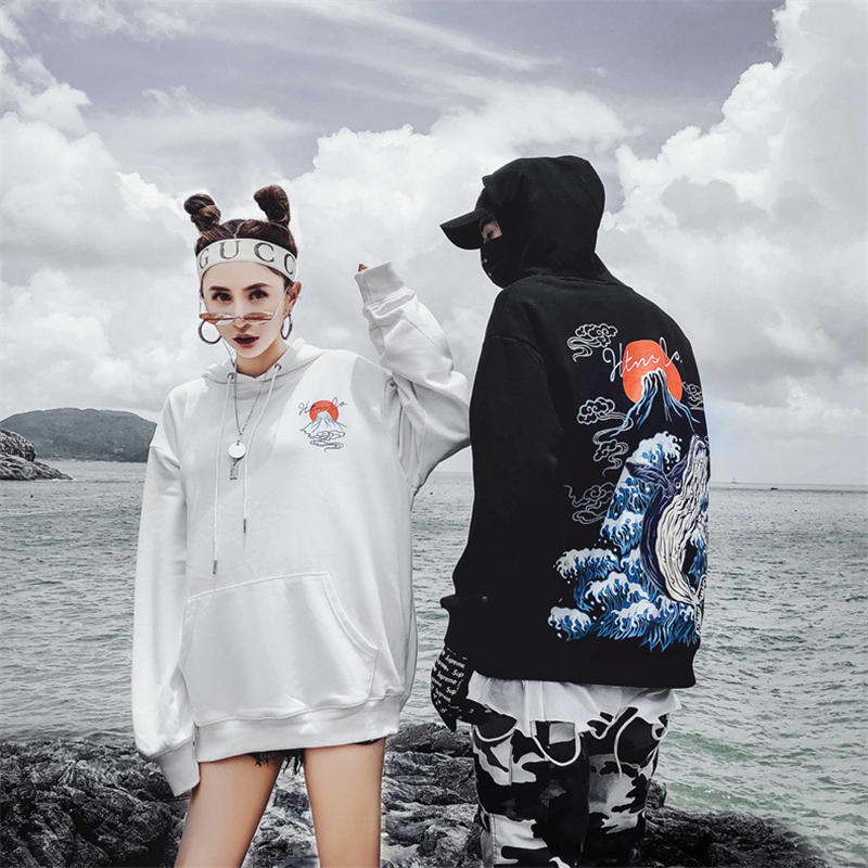 Mens Hip Hop Hoodie Sweatshirt Streetwear Harajuku Japanese Volcano Whale Print Hoodies Pullover Cotton Sweat Shirt 2019 Autumn