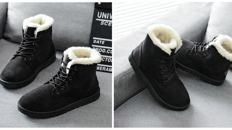 Women Flock Fur Flat Lace Up Winter Snow Suede Ankle Boots Female 51