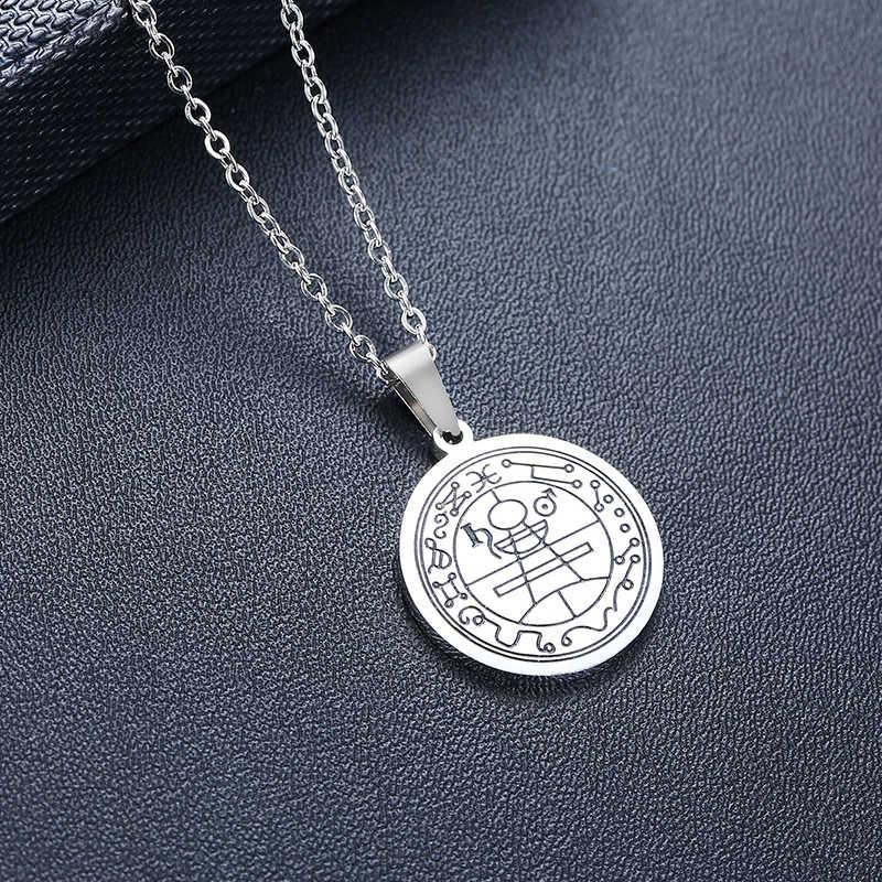 PEWTER talizman sekretna pieczęć salomona pentagram wisiorek mężczyźni naszyjnik KABBALAH AMULET męski CHOKER