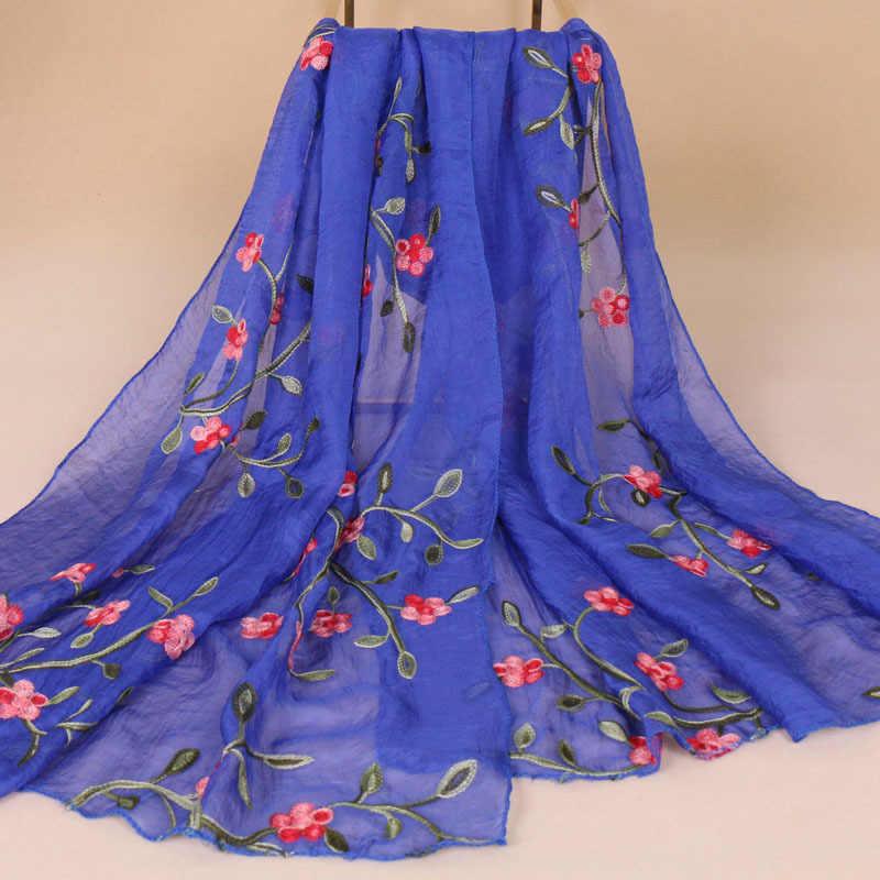 2019 nuove donne sciarpa di marca spiaggia hjiab chiffon primavera estate sciarpe di seta scialli lunghi involucri ricamato di fiori delle signore pashmina