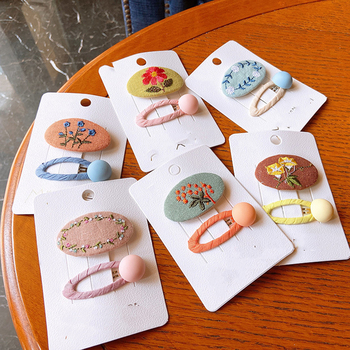 2 Pcs New Korean Children Hairpins Simple Fashion Colorful Embroidery Flower BB Clip for Sweet Girl Princess Hair Accessories