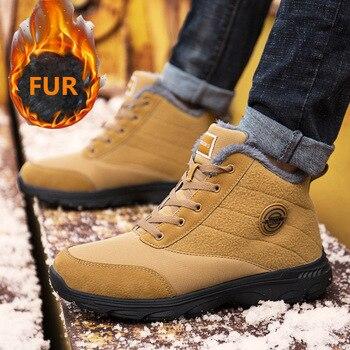 Men Boots Winter Couple Fur Warm Snow Boots Men/women Sneakers Boots  Men Footwear Fashion Ankle Boots Shoes Size 46