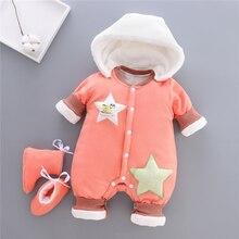 BibiCola Pelele grueso de terciopelo para bebé y niña, mono cálido para recién nacido, monos para niña, ropa de algodón para niño pequeño