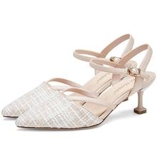 Luxury Shoes Women Designers 6CM High Heel Kitten Heels Ladies Pumps 11802AJS4611 women s girls denim jeans blue ripped low heels slippers cloth kitten heel shoes pumps slingback