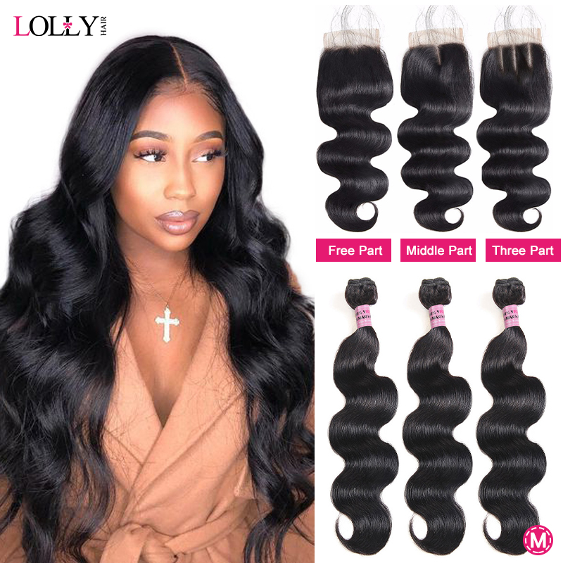 Lolly Hair 5x5 Closure With Bundles Brazilian Body Wave Bundles With Closure Human Hair 3 Bundles With Closure Non-Remy