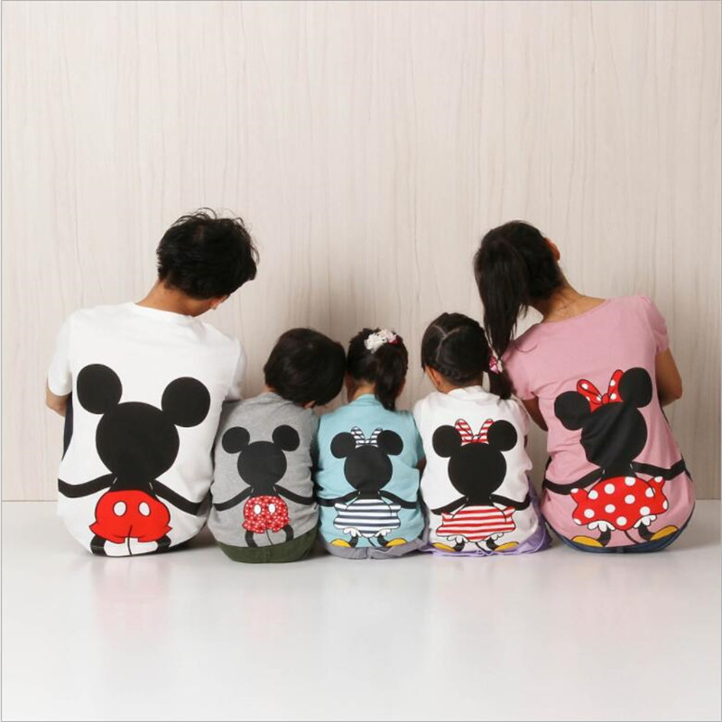 Boys Girls T-shirt Top Clothes Mickey Minnie Cotton For Family Matching Cotton Clothes Dad And Me Mother And Daughter