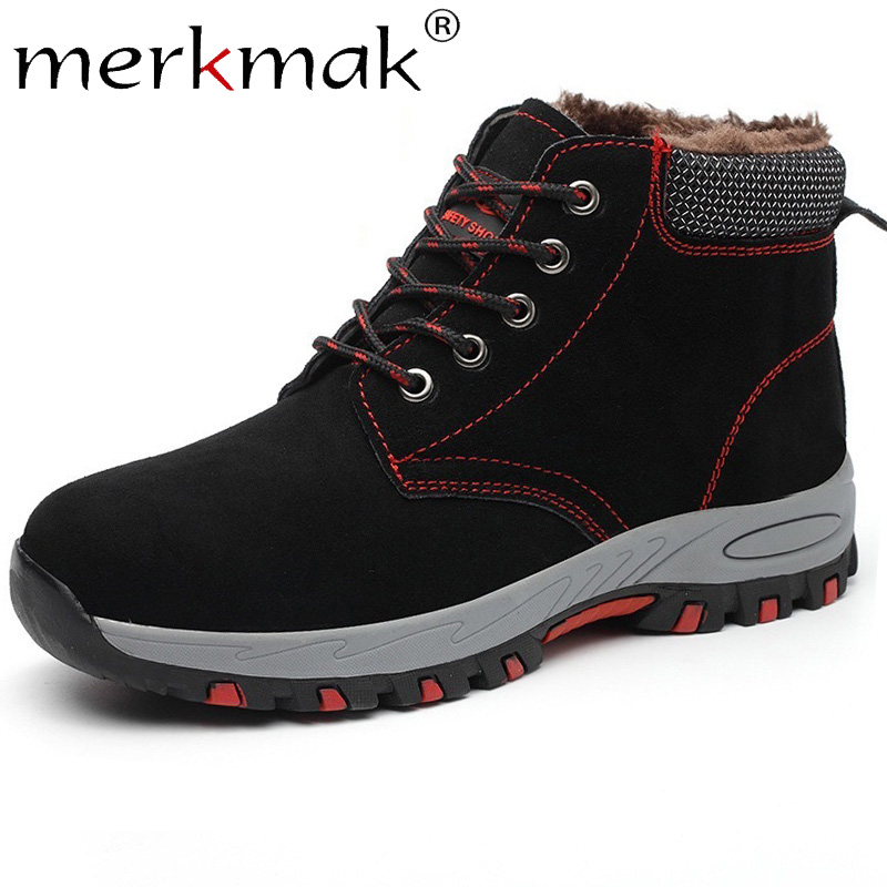 Merkmak Shoes Winter Boot-Work Autumn Casual Warm Outdoor Lace-Up Chaussure Homme Big-Size