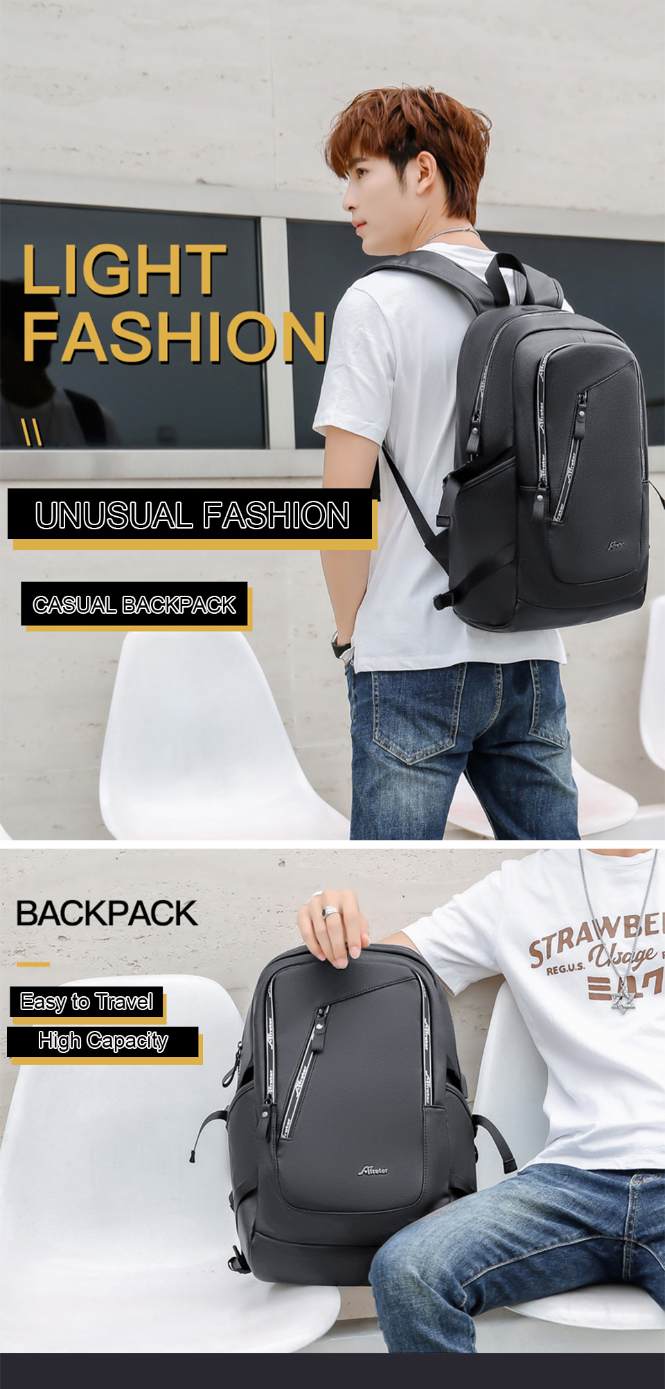 Fashion Smart Backpack Men Male Laptop 15.6 Student Backpacks School PU Leather Bagpack Waterproof Notebook USB Charging Bags (1)