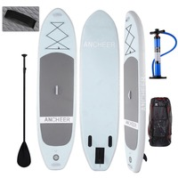 ANCHEER 10ft Paddle Board iSUP Inflatable Stand Up Surfboard Surf Wakeboard Surf Board with Adjustable Paddle Backpack Hand Pump