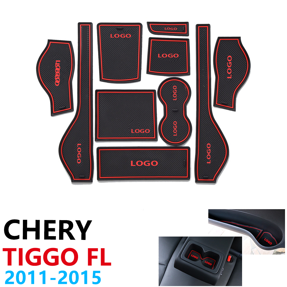 Anti-Slip Rubber Cup Cushion Door Groove Mat For Chery Tiggo FL T11 Facelift 2011~2015 2012 2013 2014 Accessories Mat For Phone