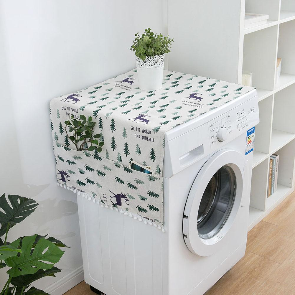 Geometric Rhombus Washing Machine Dust Covers Refrigerator Cotton Dust Covers With Pocketed Dust Covers Home Cleaning