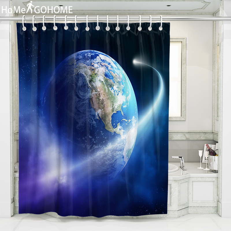 Galaxy Shower Curtains Cosmic Planet 3D Bathroom Washable Polyester for Starry Night Pattern Blue Bath Curtain cortina de ducha