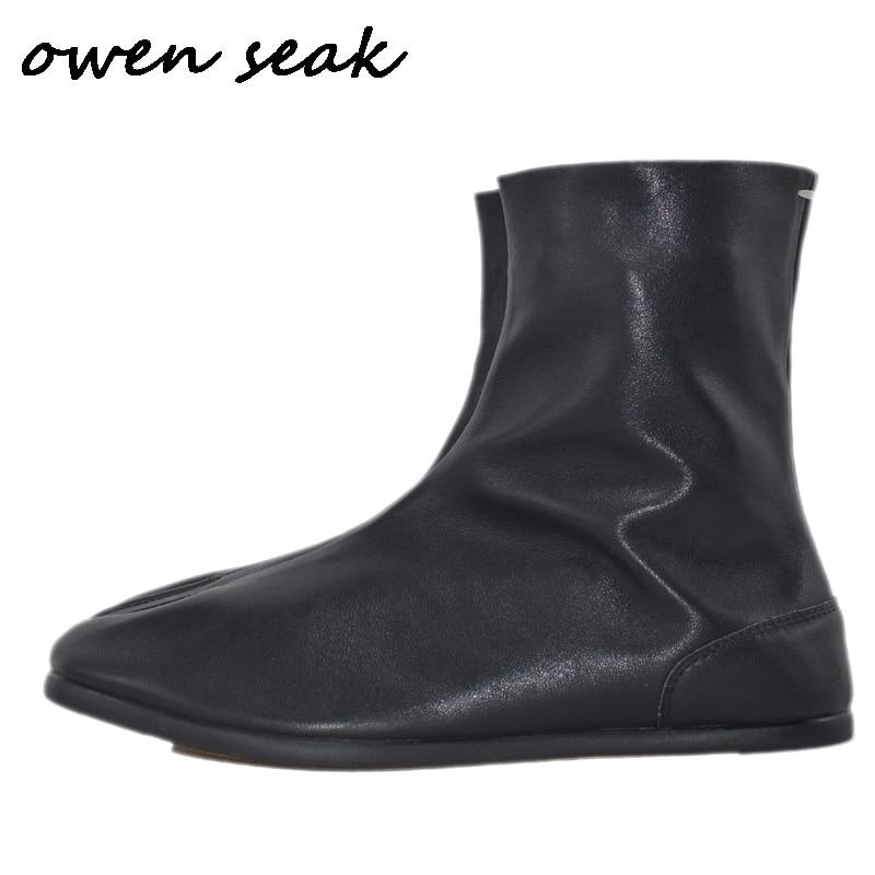 Owen Seak Men Casual Boots Luxury Trainers Cow Leather Shoes Spring Flats Men Zip Sneakers Black Shoes