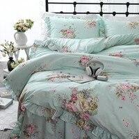 New Garden flower Printed Queen bedding set Ruffle duvet cover bed sheet princess bed linens king size bedding set Pastoral