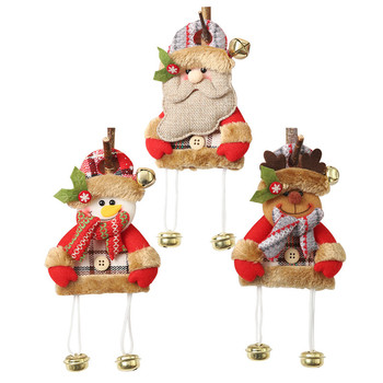 Christmas Ornament Plush Doll With Bell Wood Sign Christmas Pendant Decorative Hanging For Holiday Door Tree Decor image