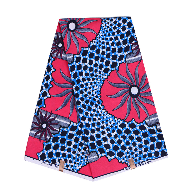 2019 New Arrivals Latest Fashion Design African Guaranteed Sunbelt Wax Blue And Pink Printed 100% Polyester Fabric 6Yards\Lot