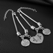 Fashion Jewelry No Matter Where Sister Bracelet 2PCS Broken Heart AlloyPendant Bangle Gift For Friends(China)