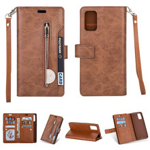 Leather Solid Zipper Flip Etui for Samsung S20 Ultra Case Samsung Galaxy Note 20 Ultra S 20 Plus Wallet Cover Card Slot Coque