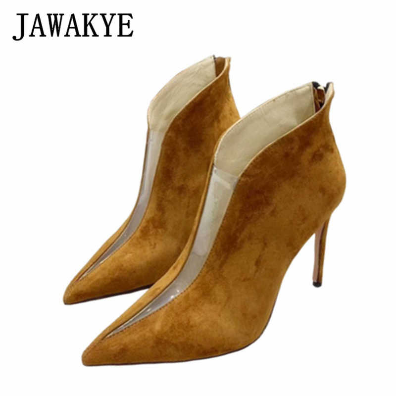 JAWAKYE Tan Suede Designer ankle Boots