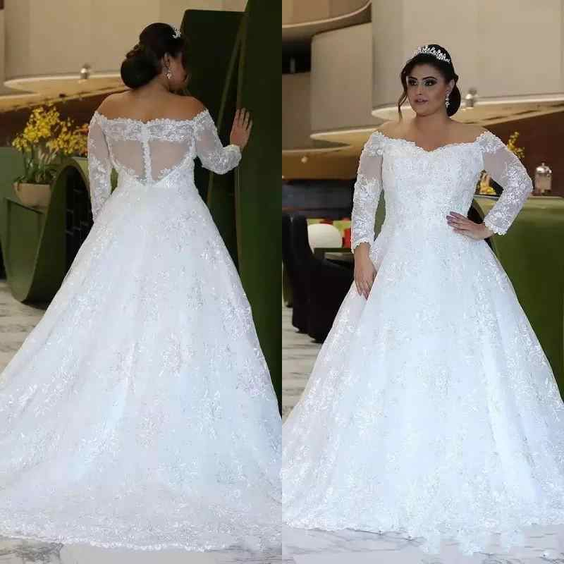 Customized Long Sleeve Plus Size Wedding Dresses Fall  Off Shoulder A Line Shiny Crystal Beads Pretty Lace Big Size Bridal Gowns