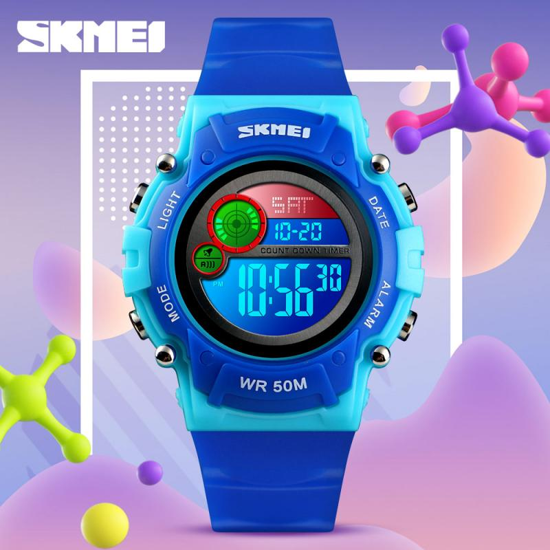 SKMEI NEW Style Waterproof Kids Watch Fashion Plastic Case Alarm Wristwatch Boys Girls Led Digital Children Watches 1477 Reloj enlarge