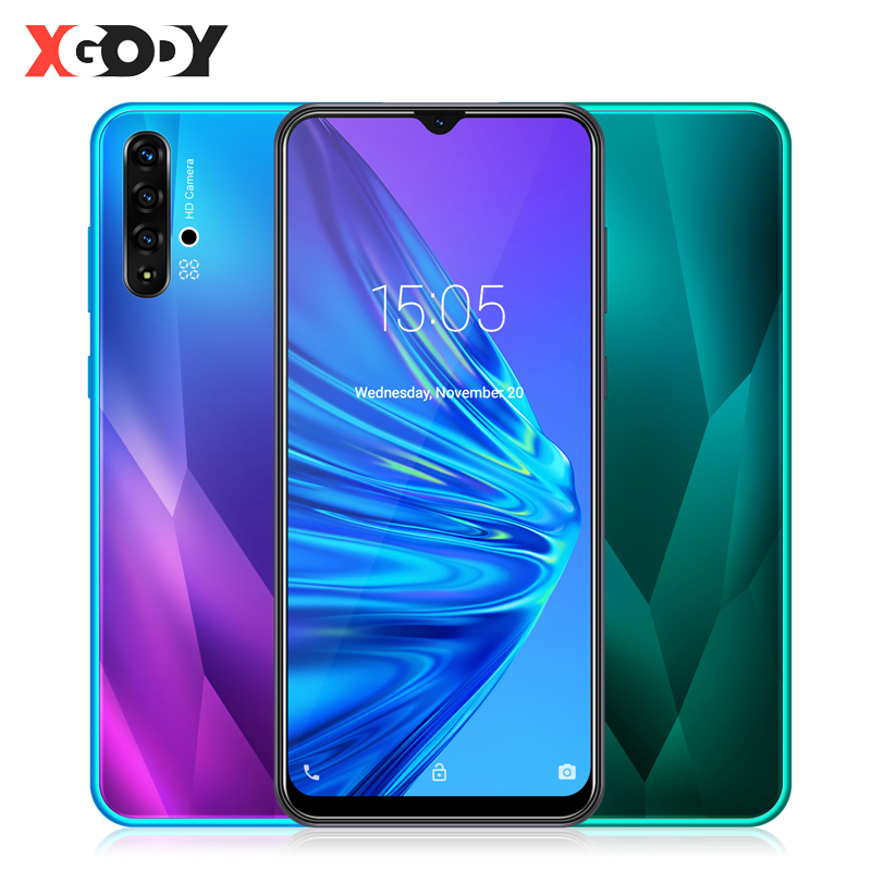 XGODY 6.5 Inch Waterdrop Smartphone Android 9.0 1GB 4GB MTK6580 Quad Core 5MP Camera 3000mAh GPS WiFi 3G Big Screen Mobile Phone