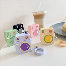 Korea Luxury 3D Cute Cartoon Bear Camera Earphone Cases For Apple Airpods 2 Accessories Protective Cover with Finger Ring Strap