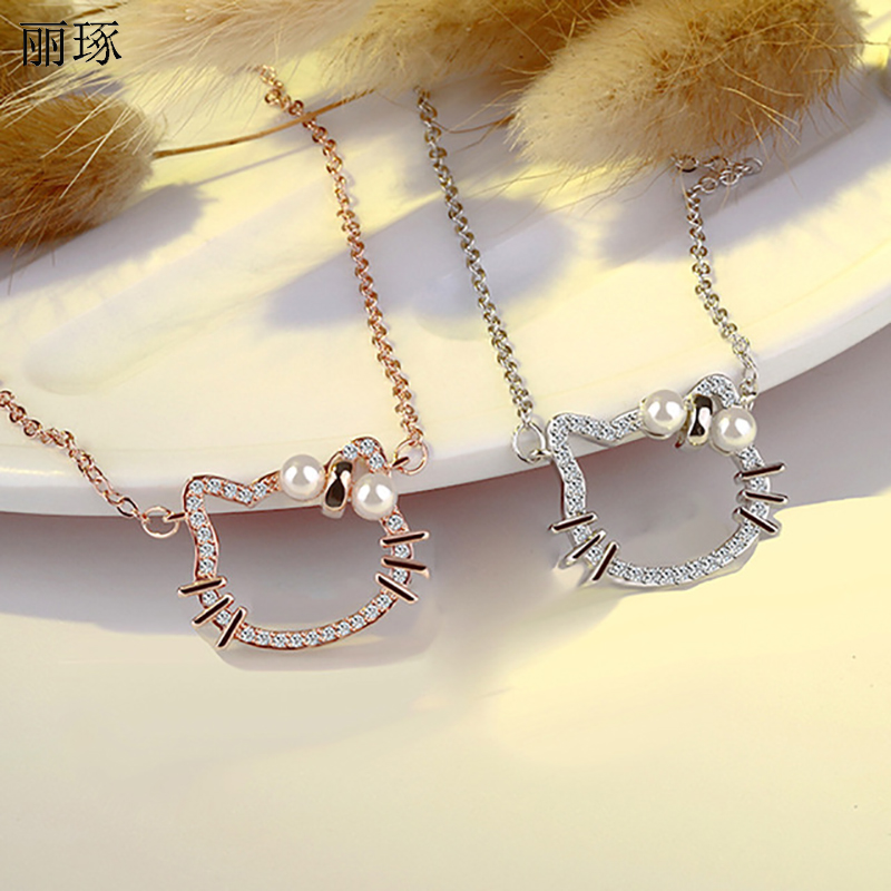 Korean Pearl Pendant Kitty Necklace Female Inlaid Crystal Zircon Jewelry Simple and Cute Valentine's Day Gifts on February 14