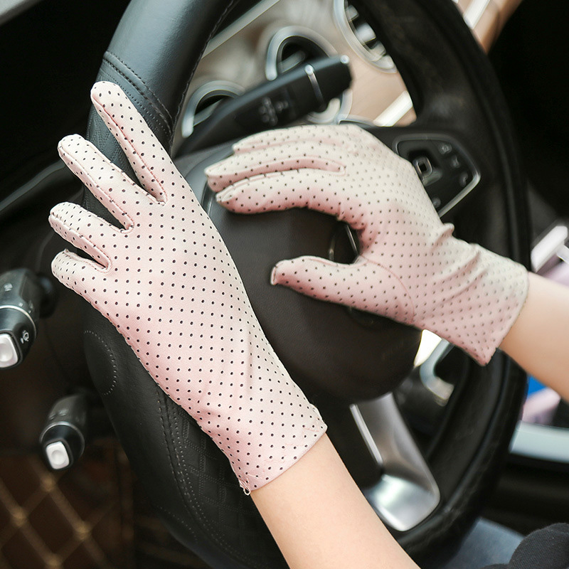 Vintage Print Dot Women Gloves Protection Sunscreen Wrist Glove Knitted Fabric Lady Mittens Driving Elastic Gloves High Quality