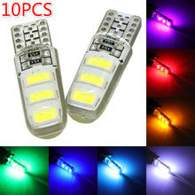 10pcs LED W5W T10 194 168 W5W COB 8SMD Led Parking Bulb Auto Wedge Clearance Lamp CANBUS Silica Bright White License Light Bulbs w5w 10 led 7020 smd car t10 led 194 168 wedge replacement reverse instrument panel lamp white blue bulbs for clearance lights