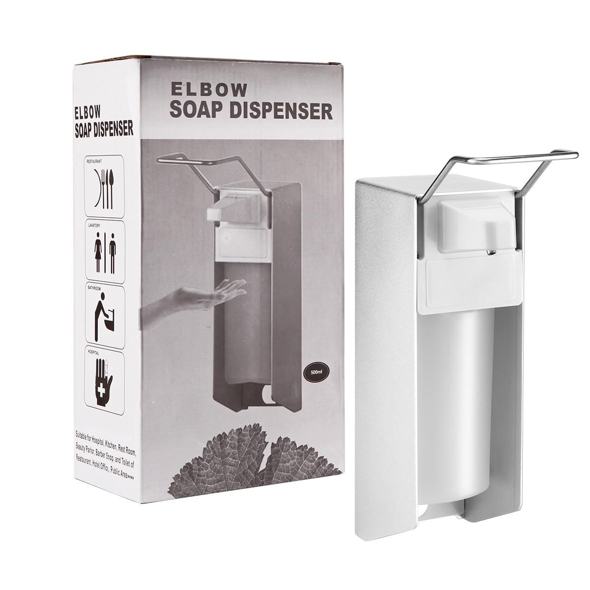 Ha52d158d6fb1480fbca3ddb62e3175760 Wall-Mount Liquid Soap Dispenser Pump Hospital Elbow Press Hand Sanitizer Soap Dispenser Bottle For Kitchen Hotel Bathroom