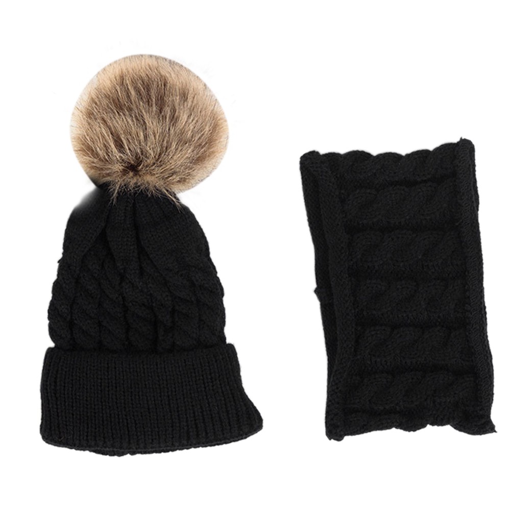 2pcs Hat Scarf Set Soft Gift Cute Unisex Outfit Woolen Yarn Baby Kids Warm Knitted Striped Daily Neckerchief Autumn Winter