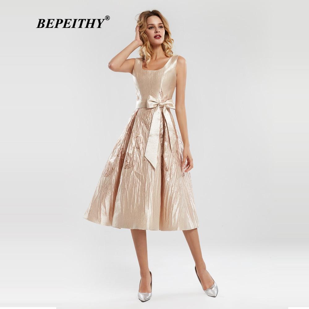 BEPEITHY Short Prom Dresses Scoop Homecoming Dress Sleeveless Jacquard Fabric Tea-Length Party Gowns 2020 Vestidos Cortos