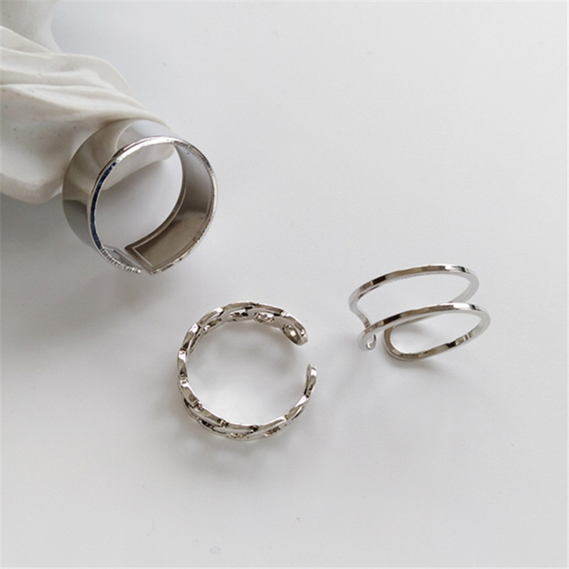 Hiphop/Rock Metal Geometry Circular Punk Ring Opening index finger Accessories buckle joint tail Ring for women 5