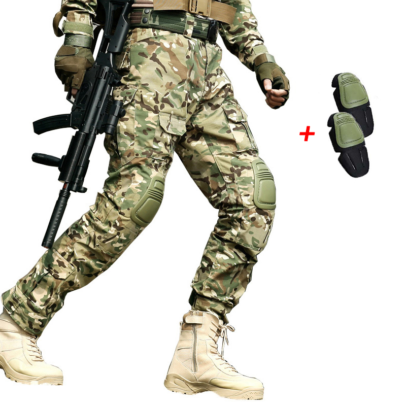 Outdoor Tactical Mens Hunting Clothing Military Combat Hunting Clothes Army Camouflage Tatico Pants With Knee Pads