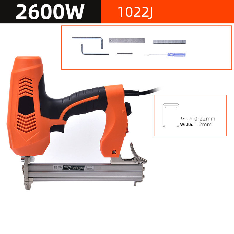 1022J Framing Tacker U Stapler Electric Staples Gun With 300Pcs Nails 220V 2600W Electric Power Tools For Woodworking Hand Tool