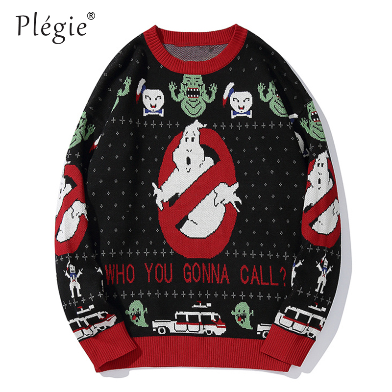Plegie Sweaters Men Ghost Print Mens Pullover Harajuku O-neck Male Sweaters College Style Knitted AutumnWinter Couple Sweaters
