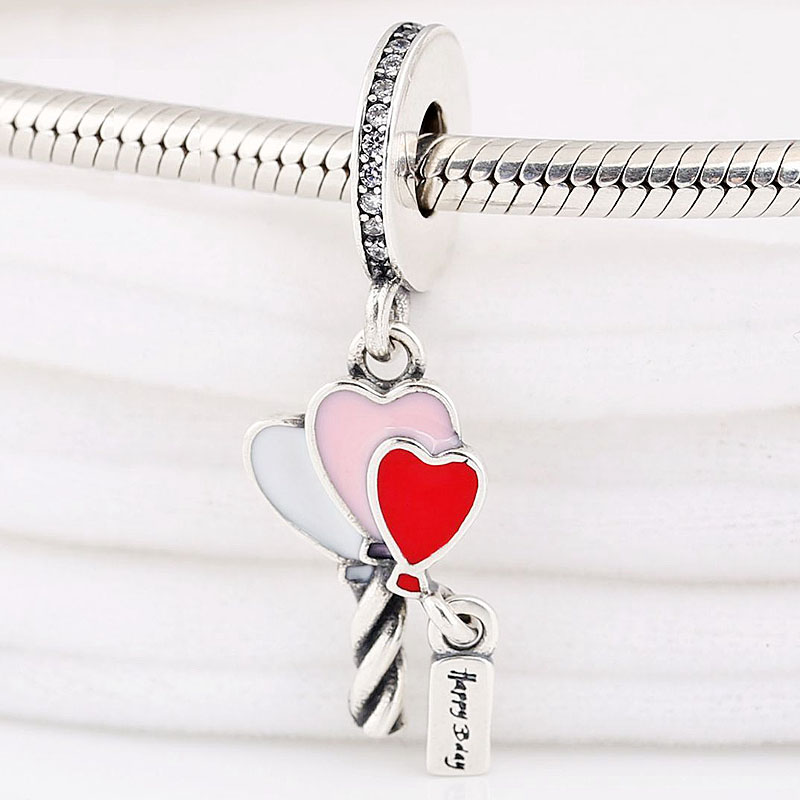 Original Red Pink White Heart Balloons With Happy bday Pendant Bead Fit 925 Sterling Silver Charm Pandora Bracelet Diy Jewelry(China)