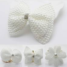 White Pearls Hair Bows With Hair Clips For Girls Boutique Layers Bling Rhinestones Center Bows Hairpins women Hair Accessories цена