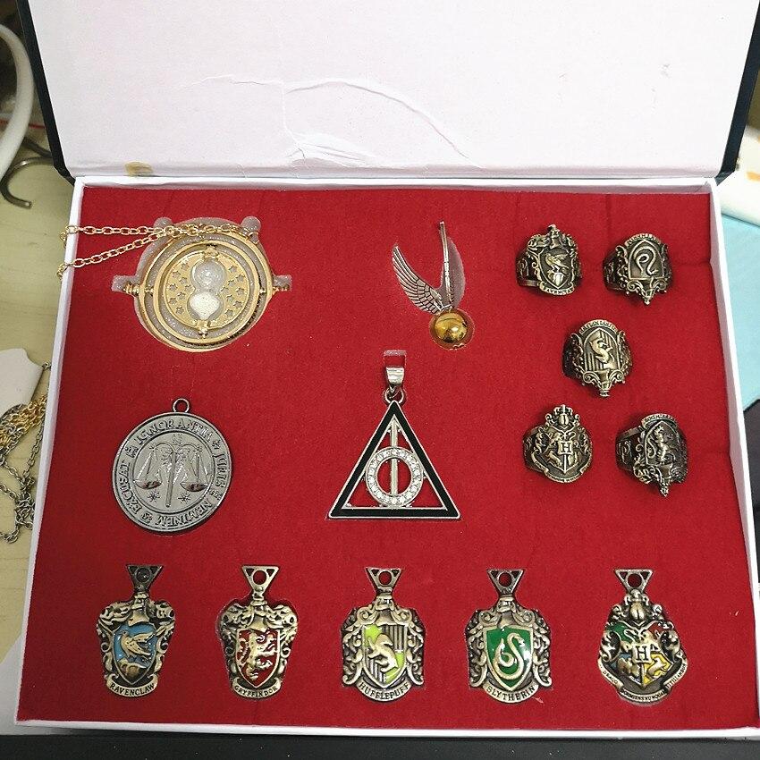 14pcs/set Potter Hogwarts Gryffindor Slytherin Ravenclaw Hufflepuff Pin Badge Brooch Necklace Ring Snitch Gift Set