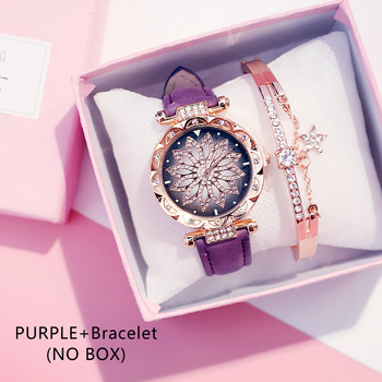 Casual Women Romantic Starry Sky Wrist Watch bracelet Leather Rhinestone Designer Ladies Clock Simple Dress Gfit Montre Femm - Purple And Bracelet