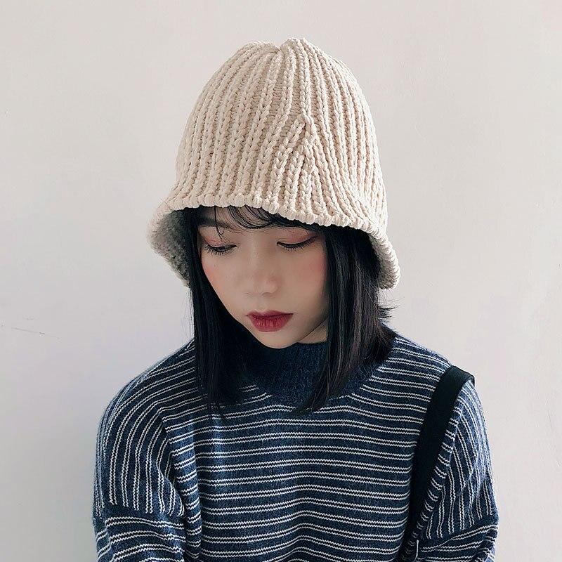 Chenille Outdoor Wool Hat Winter Basin Hat Women's Foldable Warm Hat